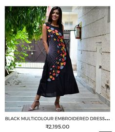 Black Multicolour Embroidered Dress with Asymmetric Neckline & Pockets - Rustorange Kurta Designs Women, Kurti Neck Designs, Kurti Designs Party Wear, Blouse Designs, Trendy Dresses, Casual Dresses, Fashion Dresses, Designs For Dresses, Embroidered Clothes
