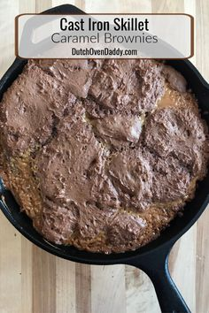 Skillet Caramel Brownies Caramel Brownies make in a cast iron skillet. Sure to impress your loved ones. Iron Skillet Recipes, Cast Iron Recipes, Fun Desserts, Dessert Recipes, Breakfast Recipes, Dinner Recipes, Chocolate Desserts, Snack Recipes, Cooking Recipes