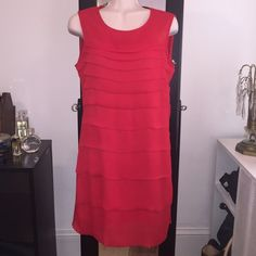 "Zara Basic Sz S Red Layered Tiered Dress Zara  Basics  Red  dress sleeveless length 32 1/2 Bust 18"" Ruffled layered  Small S  100 % Polyester Zara Dresses"