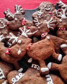 Biscotti di pan di zenzero di varie forme (nel nostro caso i classici omini e renne) decorati con ghiaccia reale bianca e rossa