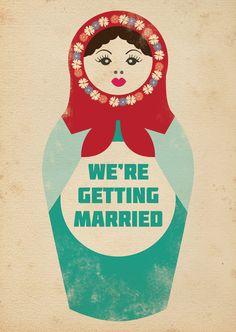 Matryoshka Vintage Retro Style Wedding Invitation