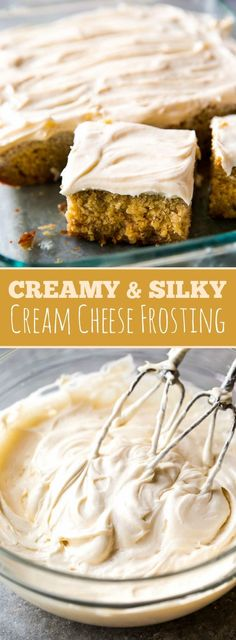 Creamy, silky, smooth, and simple cream cheese frosting! Recipe on sallysbakingaddiction.com