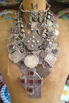 Victoria Rivers | Collection of necklaces made using antique Berber pendants and beads, mainly restrung on sterling silver chains.
