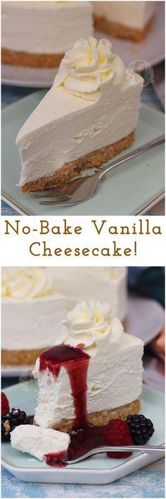 Cheesecake Vanille, No Bake Vanilla Cheesecake, Baked Cheesecake Recipe, Oreo Cheesecake, Unbaked Cheesecake, Raspberry Cheesecake, Whipped Cream Cheesecake, No Bake Cheesecake Filling, Shortbread Cookies