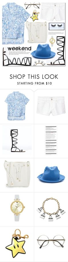 """Weekend~"" by bibibaubau ❤ liked on Polyvore featuring MANGO, Arche, Kate Spade, Maison Michel, Moschino, Huda Beauty, Blue, weekend, sunday and gladiatorsandals"