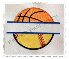 $2.95Split Applique Ball Half Basketball Half Baseball or Softball Machine Embroidery Design