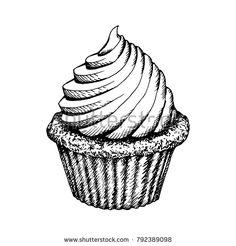 Ice Cream Waffle Cone Skecth. Hand Drawn Icecream Icon On