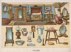 From a Victorian children's book. Victorian Interiors, Vintage Interiors, Victorian Era, Victorian Homes, Paper Doll House, Paper Houses, Paper Art, Paper Crafts, Toy Theatre
