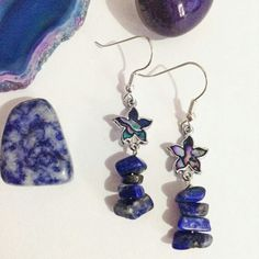 Paua shell and lapis earrings by @otherworldjewellery  Otherworldinspired.etsy.comfeatures handmadejewellerycreated with quality materials, including gemstones, seashells, crystals, charms and beads.