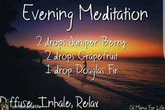 Evening meditation diffuser blend: juniper berry,  grapefruit,  Douglas fir essential oils