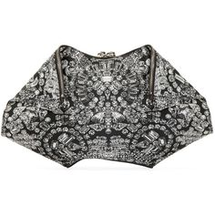 Alexander Mcqueen Black and Grey Jewel Large De Manta Clutch ($450) ❤ liked on Polyvore featuring bags, handbags, clutches, fold over handbag, jeweled purse, alexander mcqueen, alexander mcqueen handbags and genuine leather purse