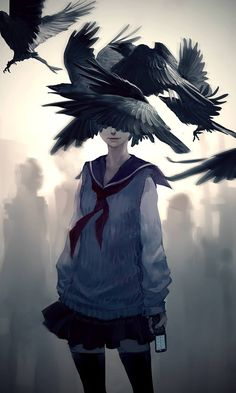 Beautiful modern day reinterpretation of Edgar Allan Poe's The Black Cat and The Raven by the amazing Yuumei.