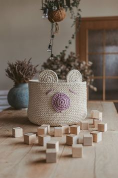 Your place to buy and sell all things handmade Nursery Storage Baskets, Baskets For Shelves, Toy Storage Bags, Large Baskets, Crochet Basket Pattern, Crochet Patterns, Crochet Ideas, Crochet Round, Modern Crochet
