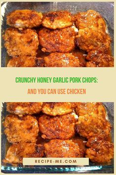 Crispy Honey Garlic Pork Chops its so delicious and healthy. INGREDIENTS: pork chops (not too thick, you can use boneless pork loin. Pork Chop Recipes, Chicken Recipes, Chicken Meals, Pork Ham, Pork Loin, Honey Garlic Pork Chops, Pork Dishes, Healthy Eating, Cooking Recipes