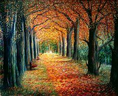 bosco  delle  fiabe...autunno  olio  su  tela  40x50  ----  cristina  de  biasio