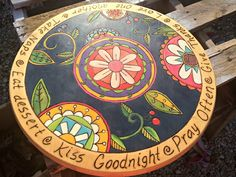 ~Irishman Acres~: Obsessed Much Mondays: Barn Sale woodburned and painted lazy susan
