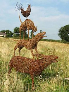 Town Musicians of Bremen Willow Sculpture by Caroline Gregson,