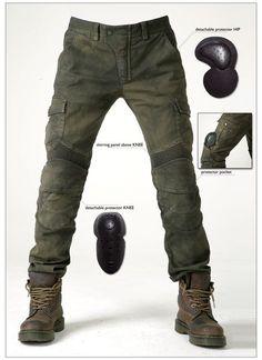 "Biker pants that I really like would look like a badass! ""Motorpool"" - Biker jeans by Korean company uglyBROS. Jeans Moto, Motorcycle Jeans, Biker Pants, Motorcycle Fashion, Jeans Pants, Motorcycle Clothes, Motorcycle Outfit, Cargo Pants, Kevlar Pants"