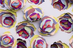 3d paper art by maud vantours creates multi-layered beautiful color patterns