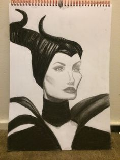 Charcoal and pencil drawing of Maleficent- by Ashleigh Hunter