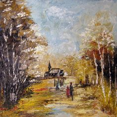Old Church  Original Landscape Oil Painting by halinapl on Etsy, $259.00