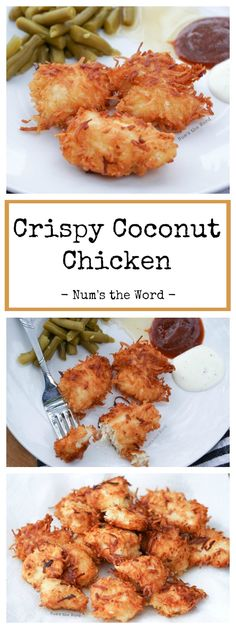 *VIDEO* Crispy Coconut Chicken – This simple dish is gluten free and packed with flavor. Crispy coconut coated chicken nuggets, strips or breasts is a winner with all family members and will be requested again and again! Low Carb Recipes, Cooking Recipes, Healthy Recipes, Pasta Recipes, Crockpot Recipes, Soup Recipes, Vegetarian Recipes, Eat Healthy, Turkey Recipes