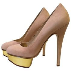 Heels Charlotte Olympia Other size 38 EU in Suede - 4530608 Wedge Heels, Shoes Heels, Pumps, Charlotte Olympia, Luxury Consignment, Dust Bag, Peep Toe, Wedges, Stuff To Buy