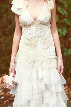 Wedding Gown close-up.  Doilies and lace for days and days.    The AsA Custom Elena Gown --Made to Order--. $750.00, via Etsy.