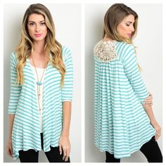 Mint & Ivory Striped Cardigan Mint and Ivory Striped Cardigan. Open front with 3/4 sleeves. Flower crochet detailing on top back! 95%Rayon 5%Spandex   Sizes Available: Small and Large   *Please let me know which size you'd like, and I will create you a listing* Thank you, Xo Sweaters Cardigans