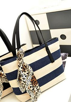 Blue and Off-White Stripe Canvas Tote Bag