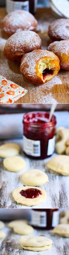 Homemade raspberry doughnuts