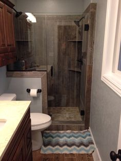 Wood Tile Shower With Glass Doors Bathrooms 2017 Master Upstairs Rustic