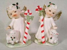 Lefton Christmas Angel Figurines #1752, Boy & Girl Angels w/Lambs+Candy Canes