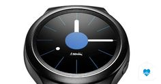 Samsung Gear Industrial design of Samsung's first round-faced smartwatch. Smartwatch, Samsung, Fitness Devices, Best Fitness Tracker, Track Workout, Iphone, Industrial Design, Bluetooth, Product Design