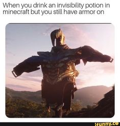When you drink an invisibility potion in minecraft but you still have armor on iFunny ) is part of Avengers funny - When you drink an invisibility potion in minecraft but you still have armor on popular memes on the site iFunny co Avengers Humor, Avengers Quotes, Avengers Imagines, Marvel Avengers, Memes Humor, Dc Memes, Jokes, Funny Humor, Marvel Funny