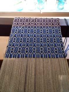 """From the blog: weft side of the loom """"I am finding overshot to be a rewarding weave structure. It is fun to see how quickly the pattern builds."""""""