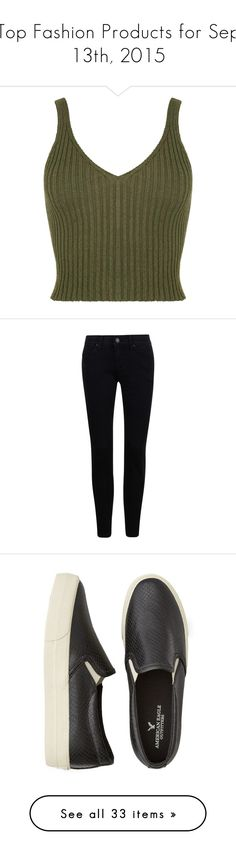 Top Fashion Products for Sep 13th, 2015 by polyvore on Polyvore featuring polyvore, women's fashion, clothing, tops, crop tops, shirts, tank tops, green top, rib shirt, distressed shirt, shirt crop top, torn shirt, jeans, pants, bottoms, black, slim stretch jeans, skinny jeans, slim jeans, slim cut jeans, skinny leg jeans, shoes, sneakers, flats, sapatos, shoes - flats, flat platform shoes, pull on sneakers, slip-on shoes, platform flats, platform sneakers, jewelry, necklaces, accessories…