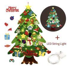 DIY Felt Tree & Spare Ornaments Bundle(With Free LED String Light) Diy Felt Christmas Tree, Christmas Hat, Xmas Tree, Christmas Tree Decorations, Christmas Ornaments, Christmas Doodles, Christmas Mantels, Hanging Tree, Felt Tree