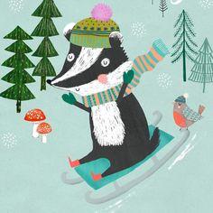 Sledging badger! Gorgeous Christmas illustration by Rebecca Jones