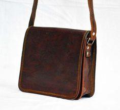 Laptop satchel natural Real genuine leather messenger small medium vintage bag #Handmade #MessengerShoulderBag