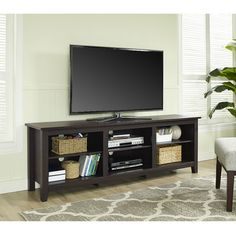 "TV Stand Cabinet Console Large Open DVD Media Storage Shelves Wood Espresso 70"" #WEF #Contemporary"