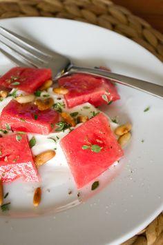 Ziegenfrischkäse mit Wassermelone