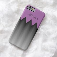 Grey chevron violet purple monogram iPhone 6 case