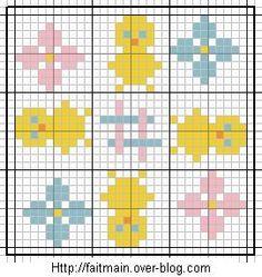 Biscornu Cross Stitch, Mini Cross Stitch, Cross Stitch Charts, Cross Stitch Embroidery, Cross Stitch Patterns, Chicken Cross Stitch, Pixel Crochet Blanket, Broderie Simple, Cross Stitch Numbers
