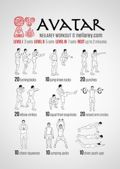 Anime inspired workouts!  Includes: Avatar the Last Airbender / Legend of Korra, Fairytale, Full Metal Alchemist, Naruto, and Attack on Titan/Shingeki No Kyojin