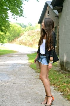 blazer and jean shorts via a lovely escape: {first fall}