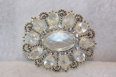 MONET Signed Vintage Large Clear Crystal Silver Tone Brooch Pin. Starting at $15