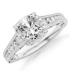 1.47 Carat Cushion Cut / Shape 14K White Gold Vintage Halo Style Channel Set Round Brilliant Diamond Engagement Ring ( D-E Color , SI2 Clarity ) - Size 10