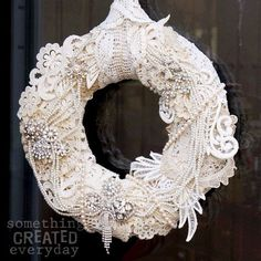 The Very Best Tutorials & Posts of 2016 on 2019 A Lace Rhinestone Wreath DIY Project 15 Fascinating Crafts With Lace Doilies You Should Make Immediately! The post The Very Best Tutorials & Posts of 2016 on 2019 appeared first on Lace Diy. Couronne Shabby Chic, Shabby Chic Kranz, Shabby Chic Wreath, Shabby Chic Crafts, Doilies Crafts, Lace Doilies, Christmas Wreaths, Christmas Crafts, Christmas Decorations