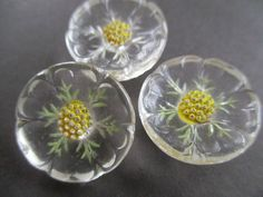 PRETTY VINTAGE GLASS BUTTONS FLOWERS 3 pcs. noelhumphrey on eBay.co.uk